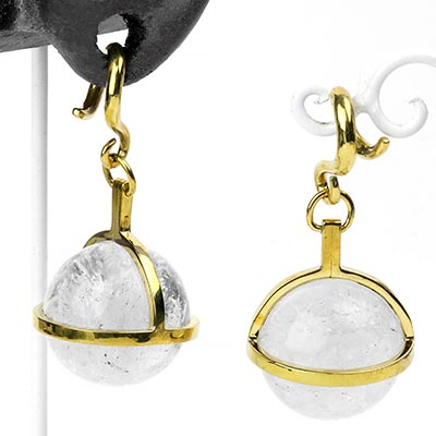 Solid Brass and Crystal Quartz Globe Weights