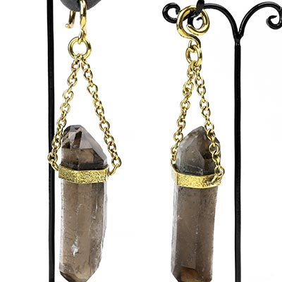 Solid Brass and Smoky Quartz Crystal Dangle Weights