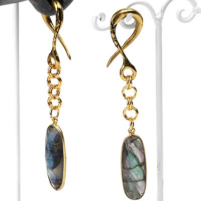 Brass Dangle Weights with Faceted Labradorite