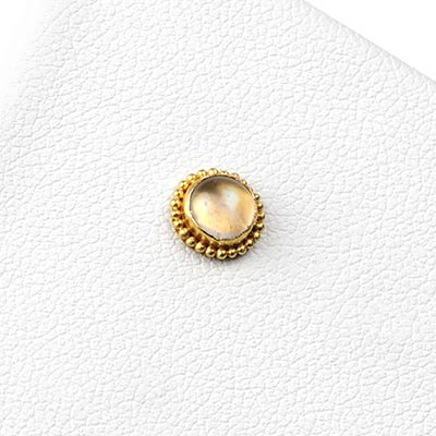 14k Gold Threadless End with Rainbow Moonstone