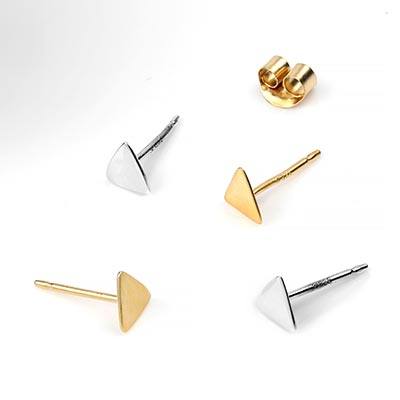 Silver and Vermeil Triangle Stud Earrings
