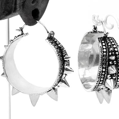 Silver Plated Spiky Tribe Hoops
