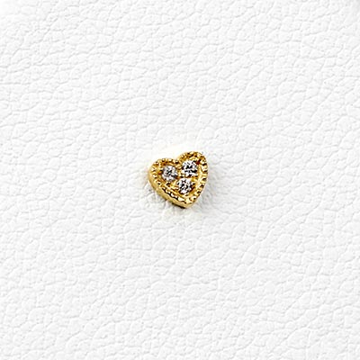 14K Gold Triple Gem Heart Threadless End