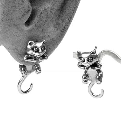 Silver Dangling Cat Earrings
