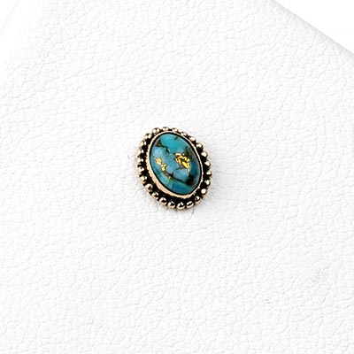 14k Gold Oval Threadless End with Turquoise