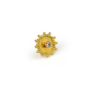 14k Gold Nova Threadless End with Genuine Diamond