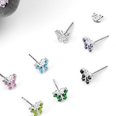 Silver Gemmed Butterfly Stud Earrings