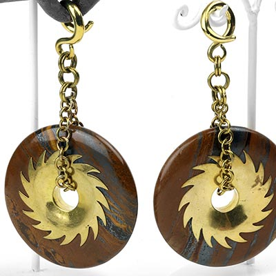Solid Brass and Tiger Eye Disc Weights