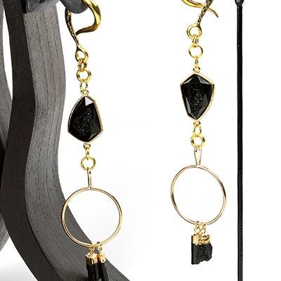 Brass Dangle Weights with Black Tourmaline