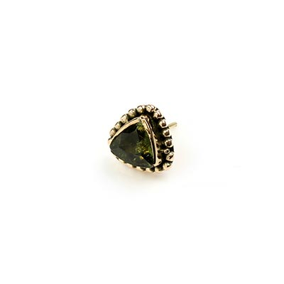 14k Gold Triangle Threadless End with Faceted Moldavite Trillion