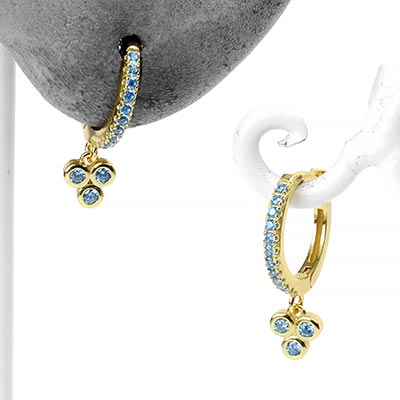 Golden Triad Huggie Earrings with Aqua Gems