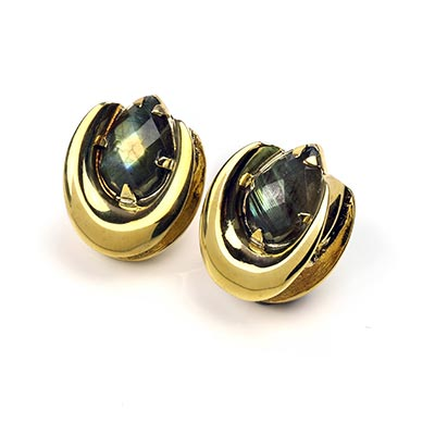 Solid Brass Saddles with Faceted Labradorite