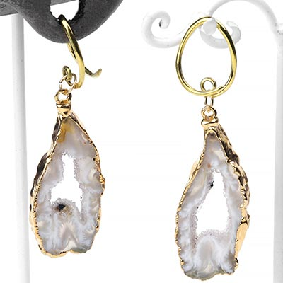 Gold Dipped Geode Slice Dangles