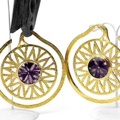 Solid Brass Essence Puj Ju Hoops with Amethyst