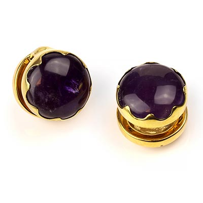 Solid Brass Ya-Yo Weights with Amethyst