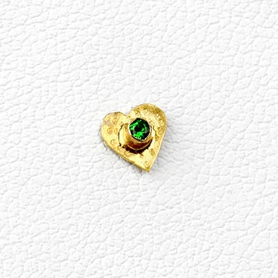 14k Gold Heart Threadless End with Tsavorite