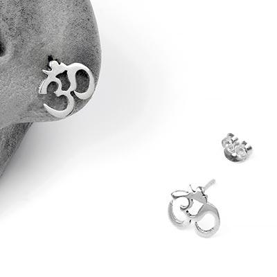 Silver Ohm Stud Earrings