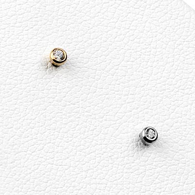 14k Gold and Bezel Set Gem Threadless Ends