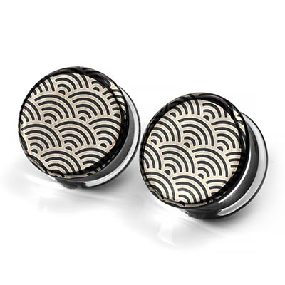 Pyrex Glass Plugs - Japanese Wave On Black