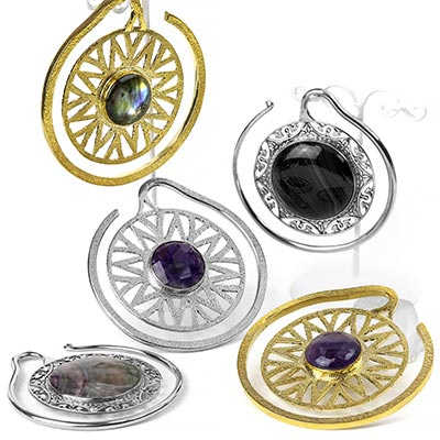 Solid Brass Oval Puj Ju Hoops with Laguna Agate