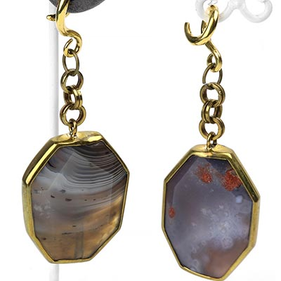 Solid Brass and Faceted Agate Asymmetrical Dangles