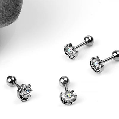 Steel Star and Moon Barbell