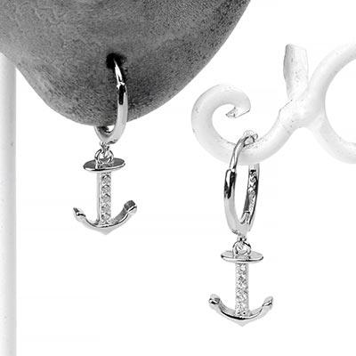 Silver Anchor Huggie Earring