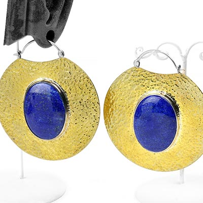 Hammered Brass Solar Moon Hoops with Lapis