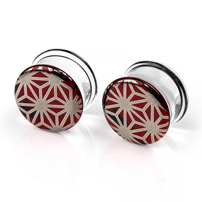 Pyrex Glass Colorfront Plugs - Platinum Japanese Star On Ruby
