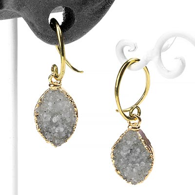 Brass and Electroplated Marquise Druzy Dangles