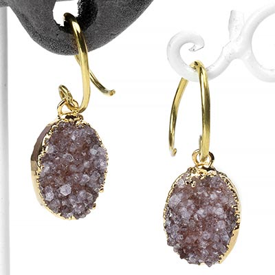 Brass and Electroplated Oval Druzy Dangles