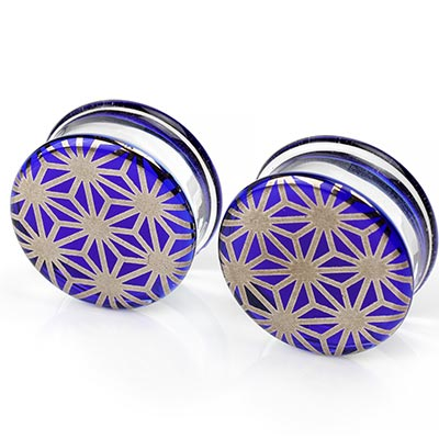 Pyrex Glass Colorfront Plugs - Platinum Japanese Star On Cobalt