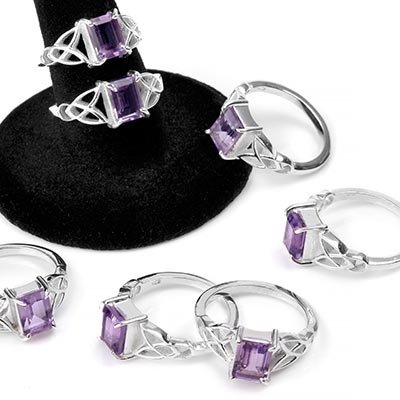 Silver and Amethyst Gemstone Celtic Ring