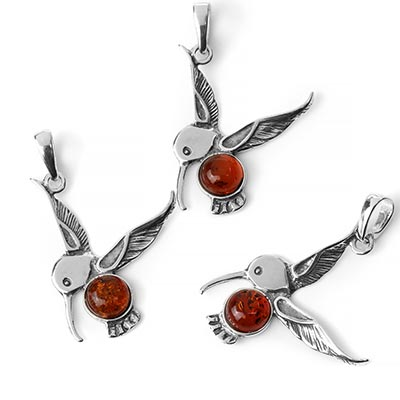 Silver and Amber Hummingbird Pendant
