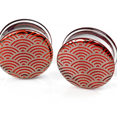Pyrex Glass Plugs - Platinum Japanese Wave On Ruby