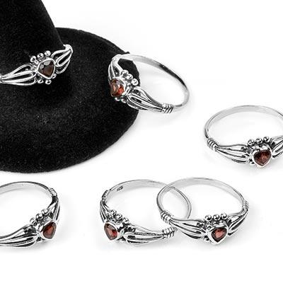 Silver and Garnet Heart Gemstone Ring