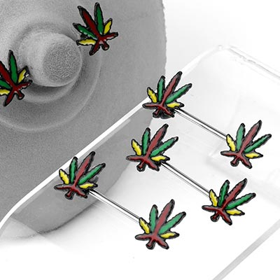 Steel Rasta Cannabis Leaf Nipple Barbell