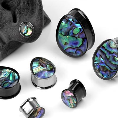 Steel Teardrop Plugs with Abalone