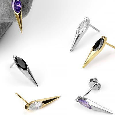 Gem Spike Stud Earrings