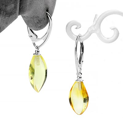 Silver and Lemon Amber Drop Earrings
