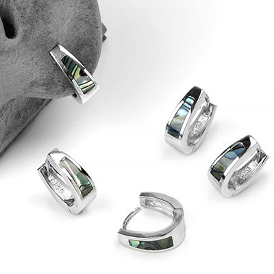 Sterling Silver Huggie Earrings with Abalone