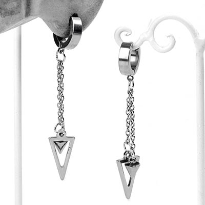 Triad Spike Dangle Huggie Earrings