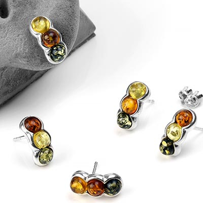 Silver and Amber Triple Stud Earrings