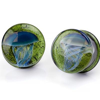 Pyrex Glass Jellyfish Plugs | Blue Moon on Emerald City