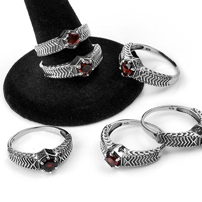 Silver and Garnet Royalty Ring