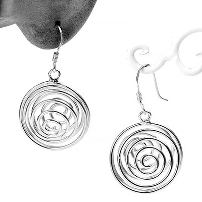 Silver Spiral Dangle Earrings