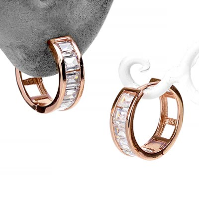 Rose Gold Huggie Earrings with Princess Cut Baguette Gems