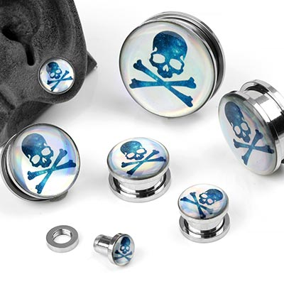 Iridescent Skull and Crossbone Plugs