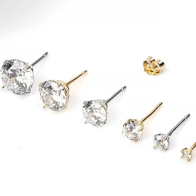 14K Gold and Gem Stud Earring
