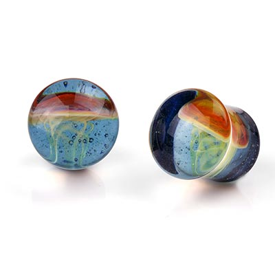Glass Jellyfish Plugs | Amber Purple On Translucent Sparkle Blue